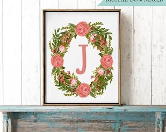 Letter J Printable,  Monogram Print, Wreath Peonies, Floral Initial J