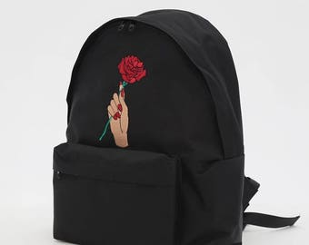 Beauty and the Beast Rose Embroidery Backpack (Black)