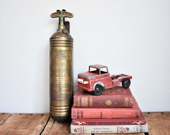 Antique Brass Pyrene Fire Extinguisher, Dated 1911, Small Fire Extinguisher with Mounting Bracket, Vintage Fire Collectible