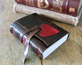 """Leather Journal . """"i carry your heart with me"""" - ee cummings . rustic . handmade handbound . brown w/ red heart & stitching (320 pgs)"""