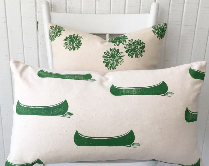 Organic canvas pillow cover, hand printed green canoes! Lumbar decor pillow, gift for canoe lover/outdoor enthusiast.  Fits IKEA inserts!