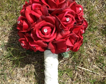 Classy True Touch Red Rose Bouquet with Diamond Pins