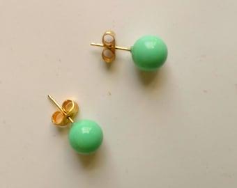 Vintage Dainty Teal Spherical Earrings, Round Sphere Stud Earring, Light Green Earrings, Gold Plated Post Earrings by enchantedbeas on Etsy