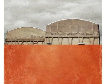 Pole Clermont (Archictecture Photography - Fine Art Print - Factory - Painting - Color Block - Orange)