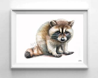 Raccoon art print, animal watercolor , nursery decor