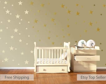 120 Gold Metallic Stars Nursery Wall Stickers