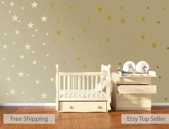 Gold Star Wall Decor: 120 Gold Metallic Stars Nursery Wall Decals Nursery Wall