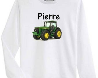Boy tractor personalized with name long sleeve t-shirt