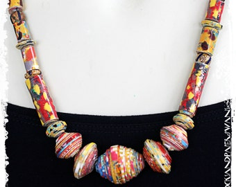 Boho Short Beaded Tribal Necklace Colorful Ethnic Paper Anniversary Gift for Wife Artisan OOAK Statement