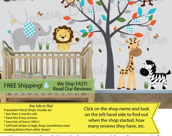 Jungle Decals, Jungle Wall Decals, Giraffe, Elephant, Monkey, Lion (SG Full Size Animal/Tree  Silver Mist) SGF