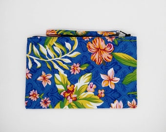 Tropical Hibiscus and frangipani print clutch, purse