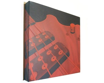Red Bass Guitar original acrylic art - square canvas with close up painting of the musical instrument in shades of red and brown