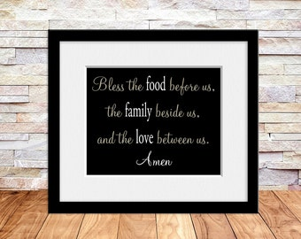 Bless the Food Before Us, Dining Room and Kitchen Sign, Wall Art Print