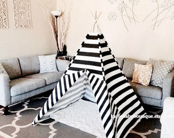 Premier Prints Black and White Horizontal Stripes Indoor and Outdoor Teepee Tent/Kid Play Tent