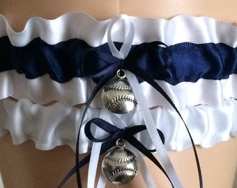 Wedding Garter Set, Bridal Garter Set, Navy Blue and White Garter Set, Keepsake Garter, Prom Garter, Garters, Bridal Accessories