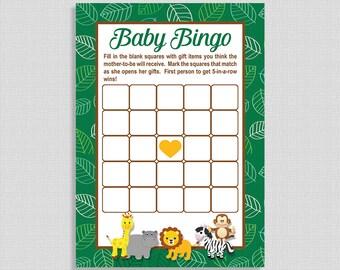 Jungle Baby Shower Bingo Game, Jungle Animals Baby Shower Game, Green, Lion, DIY Printable, INSTANT DOWNLOAD