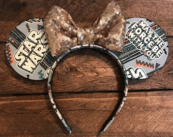 Star Wars ears, disney ears, may the force be with you mouse ears rose gold bow