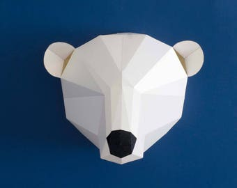 Polar bear Craft kit, 3d wall art, 3d papercraft minimalist art, low poly papercraft, paper sculpture, arctic animals, polar bear party.