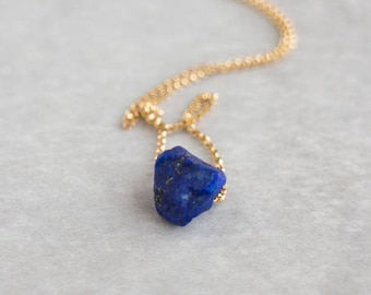 Lapis Lazuli Necklace, Gift for Her, Girlfriend Gift, Birthstone Necklace, Raw Stone Jewelry, Raw Stone Necklace, Lapis Lazuli Jewelry, Boho