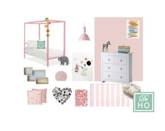 Kids Girl Bedroom project. Interior design service. E design, mood board. On line service.