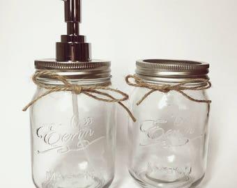 Mason jar 500ml bathroom set - soap dispenser, toothbrush holder, soap, glass jar, toiletries