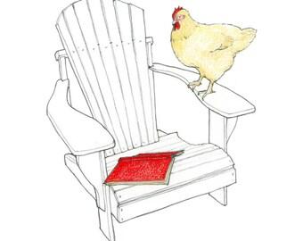 hen print, chicken print, chicken wall art