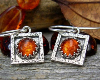 Small Square Amber Earrings in Sterling Silver