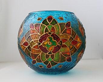 Mosaic Candle Holder Birthday Gift Candleholder Glass Tealight Holder Glass Votive Wedding Decor Abstract Kaleidoscope Meditation Gift