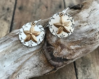 Starfish Earrings, Hand Stamped, Sterling Silver and Bronze Starfish Earrings