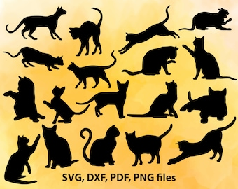 Cats svg,Cat Silhouette Clipart, Cat Silhouette Clip Art, Cat Clipart, Cat Clip Art PNG & Vector SVG, SVG Design Elements Instant Download