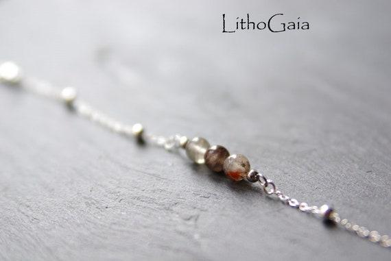 Lodolite Bar Bracelet or Anklet 925 Sterling Silver, birthstone Bracelet, Lodolite jewelry Zodiac Gift for Her, Lodolite beads Anklet