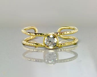 14k 10k Solid Gold Cuff Ring - Toe Ring Gold - Gold Midi Ring - Gold Pinky Ring - Gold Knuckle Ring - Promise Ring - gold Birthstone Ring