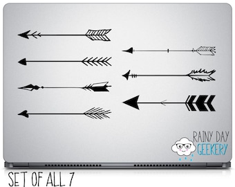 Arrow Vinyl Decal - Set of 7 Vinyl Decals - choose your color - boho, boho chic, hippie, nature loving, archery, archer, bow and arrow