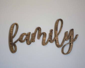 Family Wood Cutout, Gallery Wall Sign, Wooden Family word, calligraphy wood family, mothers day gift, christmas gift, family love