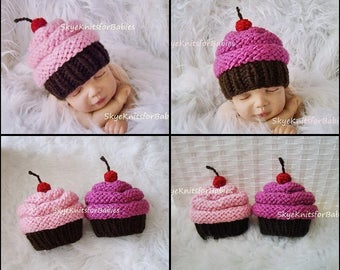 Knit Baby Cupcake Hat, Baby Girl Hat, Newborn Cupcake Hat, Children Cupcake Hat, Newborn Photography Prop, Baby Photo Prop