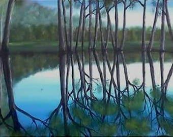 Original Waterscape painting, acrylic, art,