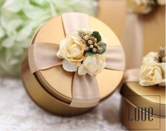 Set of 10 Gold Wedding Favors Boxes, Gold Tin Boxes, Gold Jewelry Boxes, Gold Wedding Gift Boxes, Wedding Tin Boxes, Round Box