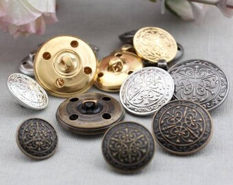 6 Pcs 0.59~0.98 Inches Retro Bronze/Silver/Gold/Gun Patterns Metal Shank Buttons For Coats