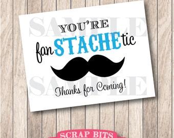 You're Fan-STACHE-tic Mustache Party Sign, Little Man Party Sign (aqua) . Instant Download Printable