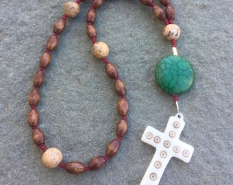 Anglican Rosary/ Protestant Rosary- Wood, Picture Jasper, and Turquoise prayer beads with hand-carved cross pendant