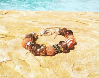 Brown, Copper, Green European Beaded Bracelet - MY LIFE SERIES by Precision Princess