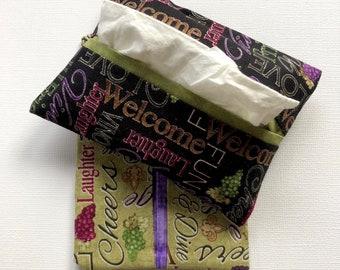 Purse Tissue Holders- Pocket Tissue Holders- Handmade- Travel Tissue Holders- Gift Under 10- Wine Lovers Gift- Wine Gift- Purse Accessory