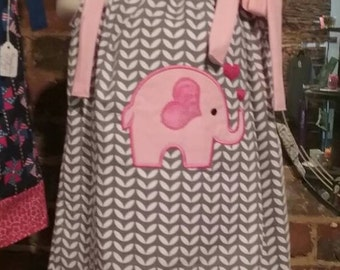 Elephant Pillowcase Dress, Gray and Pink Dress, Handmade Dress sizes 3T to 7 Girls Dress