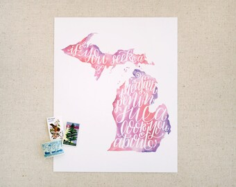 "Hand lettered Michigan art print, watercolor in pink, purple / ""if you seek a pleasant peninsula, look about you"" / Christmas gift"