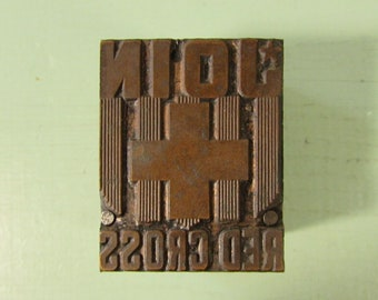 Red Cross Letterpress Print Block - Vintage Join Copper Wood Advertising