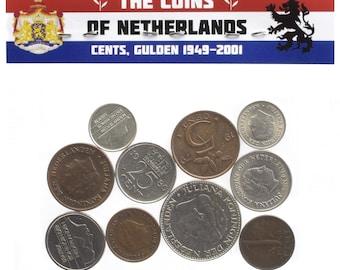 Lot of 10 coins - 4 Pounds Mixed Holland Netherlands Coins Dutch Cents Gulden Guilder