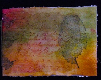 "Decoupaged Covered, Hand-Bound, Blank Watercolor Paper Journal 4""x 6"""
