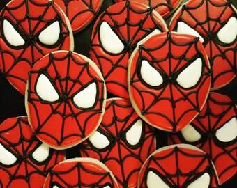 Spiderman Decorated Sugar Cookies - One Dozen