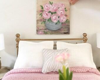 Miniature painting - pink roses - Dollhouse original art - Diorama - 1:12 scale