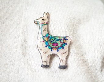 Llama Brooch, alpaca pin, llama lover gift, cute brooch, cute animal pin, hand drawn brooch